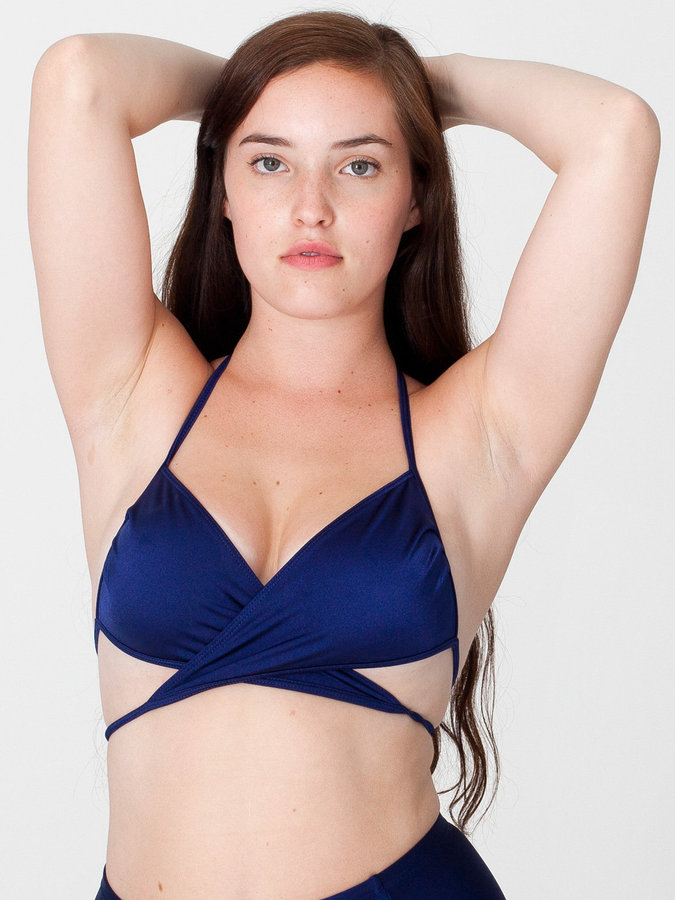 Nylon Tricot Criss-Cross Bikini Top