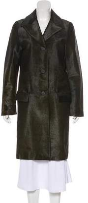 Gucci Leather Notch-Lapel Coat