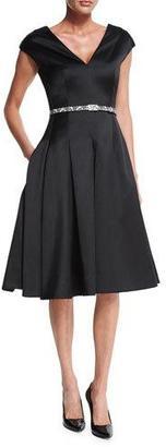 Jason Wu Cap-Sleeve Belted Flounce Dress, Black $3,495 thestylecure.com