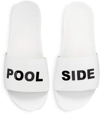 Schutz Pool Side Leather Slide Sandal, White/Black