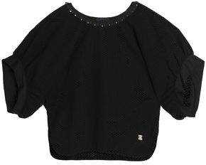 Roberto Cavalli Embellished Broderie Anglaise Cotton Blouse