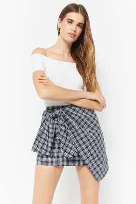 a77e9316a Forever 21 Plaid Tie-Front Mini Skirt