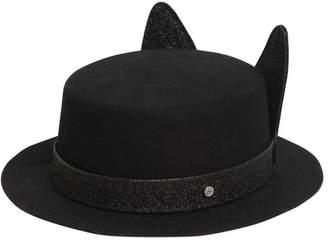 Karl Lagerfeld K/Small Brim Boater Hat W/ Ears