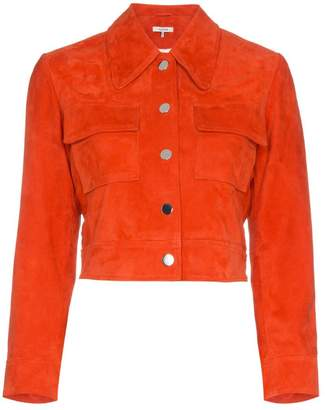 Ganni salvia suede leather jacket