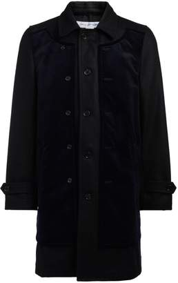 Comme des Garcons Black Wool And Blue Velvet Coat