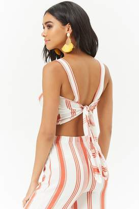 Forever 21 Striped Tie-Back Crop Top