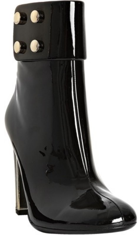 Gucci black patent leather 'Audrey' cuffed booties