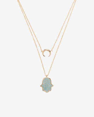 Express Two Row Layered Crescent Hamsa Pendant Necklace
