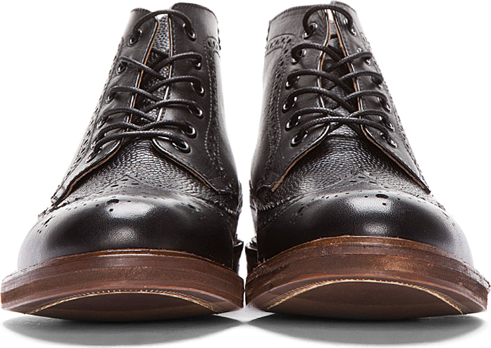 Hudson H by Black Leather Hemming Longwing Brogue Boots