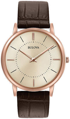 Bulova Mens Rose Gold Tone And Brown Classic Ultra Slim Leather Strap Watch 97A126