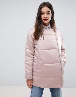 Glamorous velvet padded longline jacket