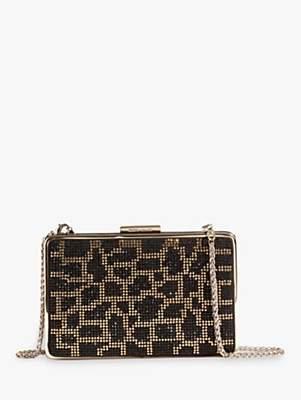 Karen Millen Leopard Embellished Box Clutch Bag, Black