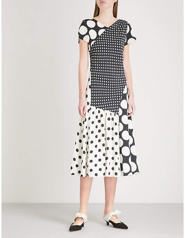 Finery London Haldane polka dot panel crepe dress