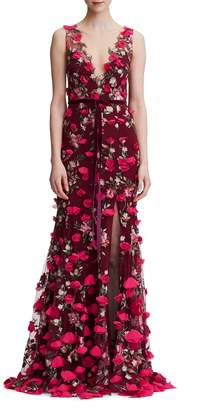Marchesa Floral Embroidered Trumpet Gown
