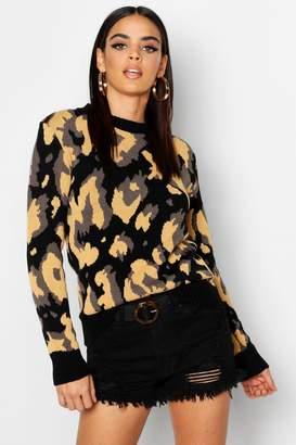 boohoo Oversized Leopard Print Sweater
