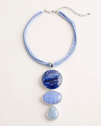 Chico's Chicos Short Blue and Silver-Tone Beaded Pendant Necklace