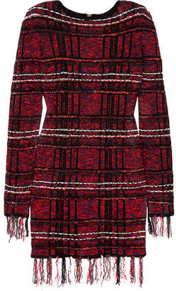 Balmain - Frayed Checked Tweed Mini Dress - Red $2,300 thestylecure.com