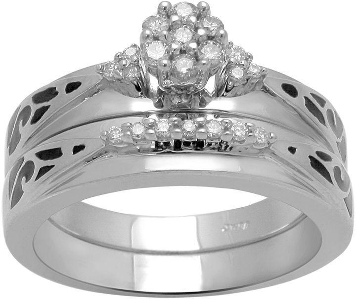 JCPenney FINE JEWELRY 1/5 CT. T.W. Diamond Wedding Ring Set Sterling Silver