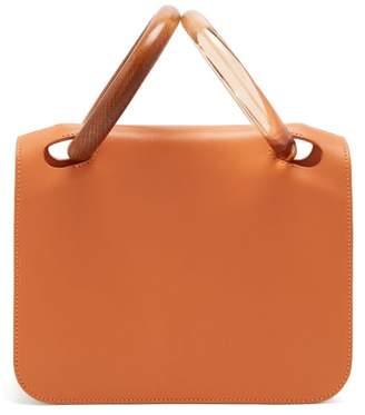Roksanda - Neneh Wooden Handle Leather Clutch - Womens - Brown Multi