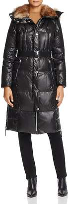 Andrew Marc Liz Belted Faux Fur Puffer Coat