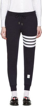 Thom Browne Navy Classic Four Bar Lounge Pants $570 thestylecure.com
