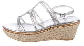 Stuart Weitzman Metallic Espadrille Sandals