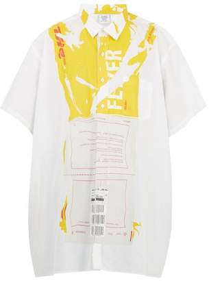 Vetements Dhl Crease Print Oversized Cotton Shirt - Mens - White Multi