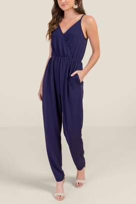 francesca's Emerson Wrap Front Pocketed Jumpsuit - Navy
