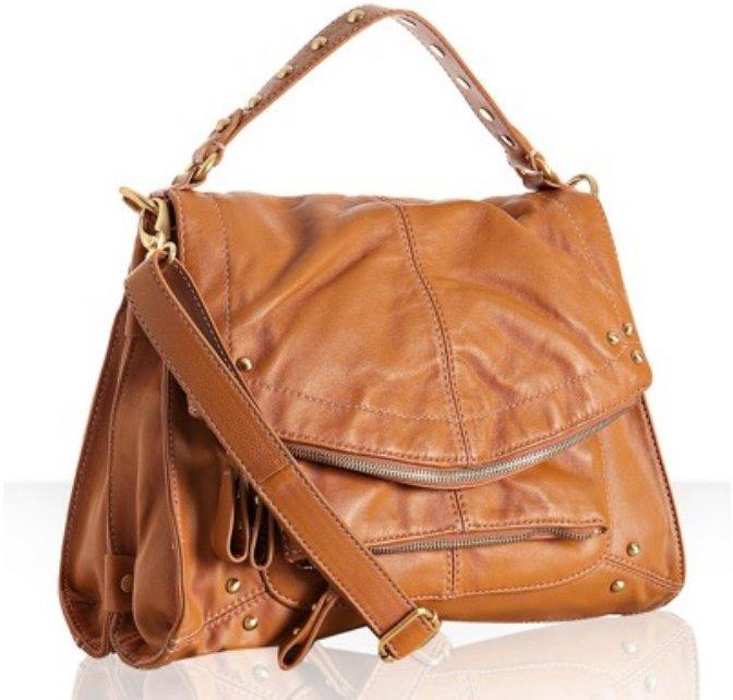 Hype latte leather 'Jean' crossbody flap bag