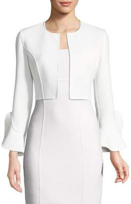 Michael Kors Open-Front Ruffle-Sleeve Stretch-Boucle Cropped Jacket