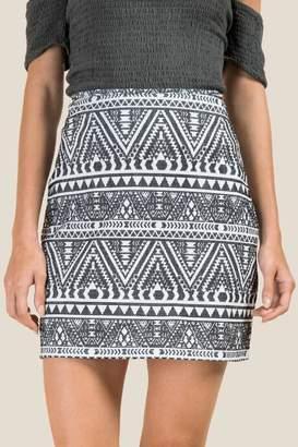 francesca's Jentry Printed Mini Skirt - Black/White