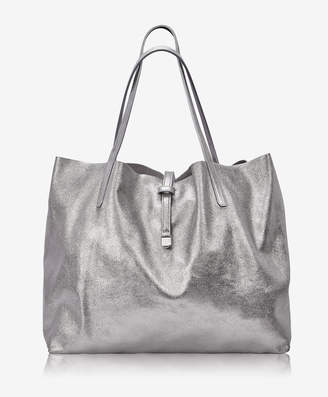 GiGi New York Reversible Luna Tote, Platinum Metallic/Camel Suede