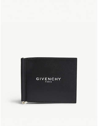 Givenchy Black and White Logo Leather Billfold Money Clip