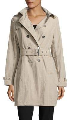 Jane Post Solid Double-Breasted Trench Coat