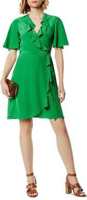 Karen Millen Ruffled Silk Wrap Dress