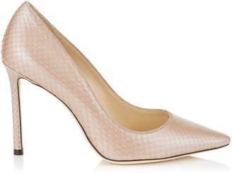 Jimmy Choo ROMY 100 Ballet Pink Glossy Pearlised Python Pointy Toe Pumps
