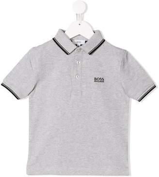Boss Kids striped trim polo shirt