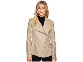 Via Spiga Leather Asymmetrical Zip Women's Coat