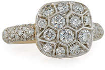 Pomellato Grande Nudo 18K White & Rose Gold Ring with Diamonds, Size 53