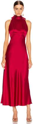Saloni Michelle Midi B Dress in Cherry Red | FWRD