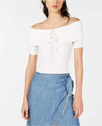 Sage The Label Off-The-Shoulder Lace-Up Top