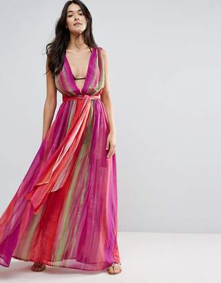 Asos Beach Plunge Pleated Maxi in Rainbow Print