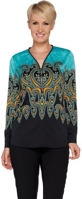 Bob Mackie Bob Mackie's Paisley Print Woven Blouse with Zipper Neck Detail