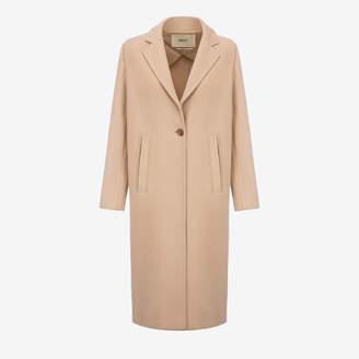 Bally Single Breasted Long Coat Beige, Women's wool coat in light beige