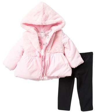 Little Me Faux Fur Hooded Jacket, Top, & Legging Set (Baby Girls)