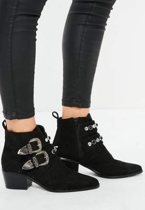 Missguided Black Western Double Strap Boots