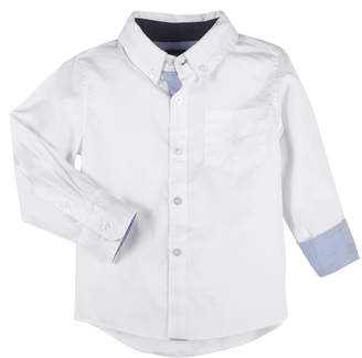 Andy & Evan Button-Down Oxford Shirt w/ Contrast Rolled Cuffs, Size 2-7