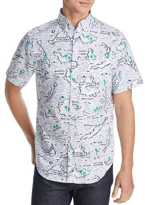 Vineyard Vines Murray Short-Sleeve Map-Of-The-Islands-Print Classic Fit Button-Down Shirt