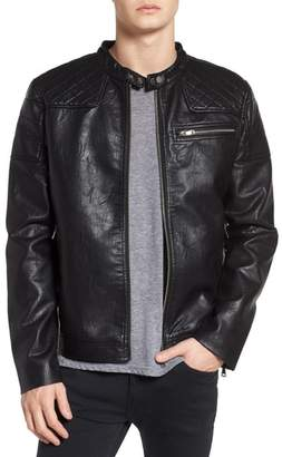 Topman Washed Faux Leather Racer Jacket