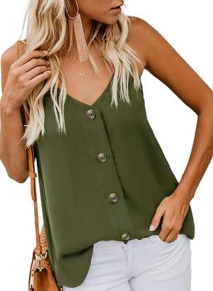 ebbc9cee0 INIBUD Womens Tops Summer Button Down Cami Tank Top V Neck Adjustable  Strappy Loose Casual Blouse